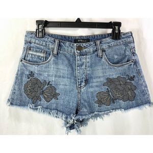 STS Blue floral embroidered frayed shorts 7304